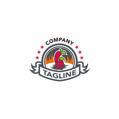 Chilli sauce cartoon classic badge icon Vettoriali