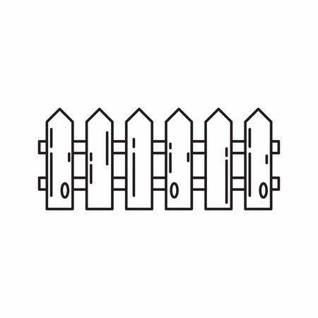 Wood fence line art icon vector Illustration
