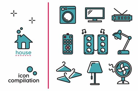 Colored House object interiors icon compilation