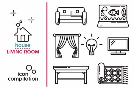 The object inside the house, Living room edition. line art vector