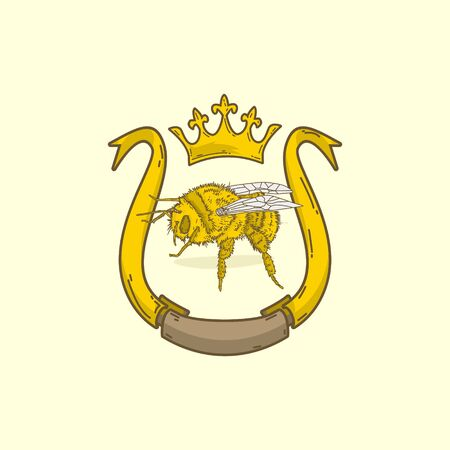 Queen bee character emblem classic logo vector