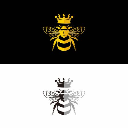 Queen bee flat design logo vector, gold and black white color