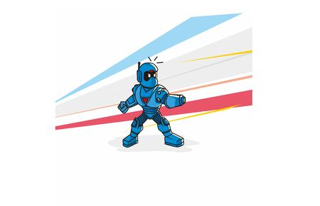 Blue robo cop character figure fight a bad guy with colorful background Illustration