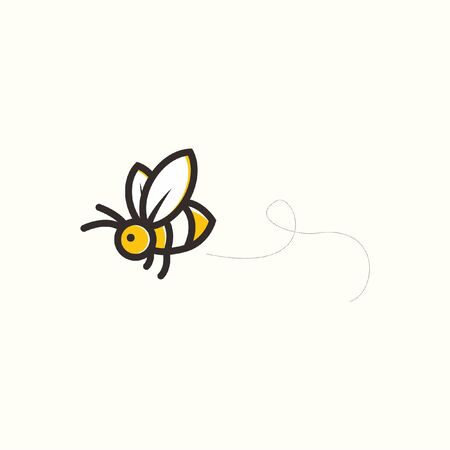 Cute Bee Flying logo Icon character Illustration