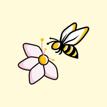 The bee is alighting on a flower Cartoon character logo