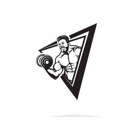 Muscle man character lift barbel black white illustration vector