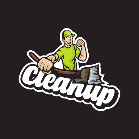 Fun guy characters who are eager to clean things up Ilustración de vector