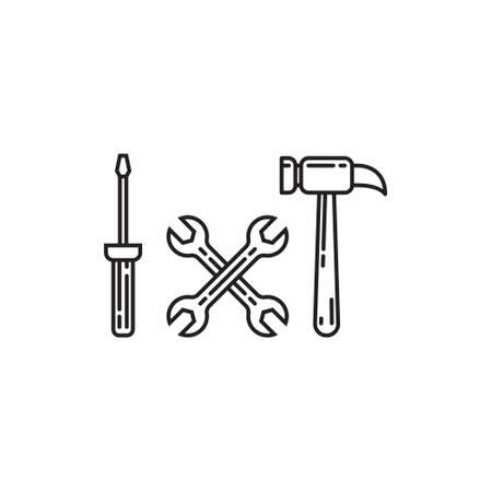 Tool collection icon line art flat design vector