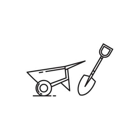 Shovel and Barrow icon flat line art simple vector