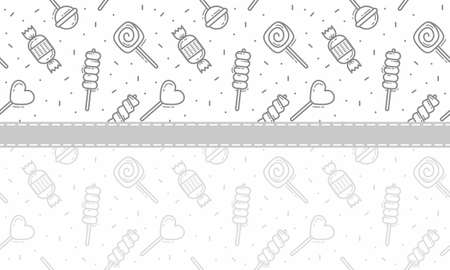 candy, lolipop amd satay seamless pattern background vector