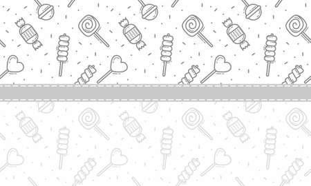 candy, lolipop amd satay seamless pattern background vector Illustration