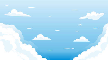clean blue sky with white cloud illustration background vector 矢量图像