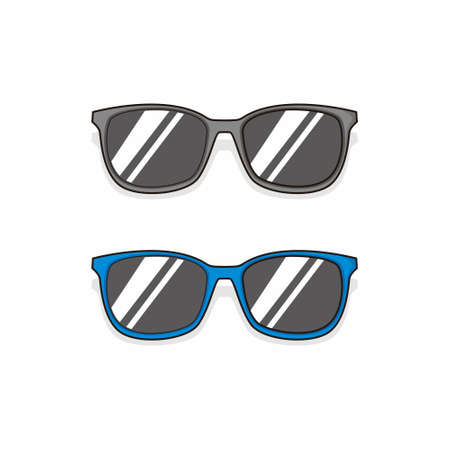 black and blue glasses simple cartoon style vector Vector Illustration
