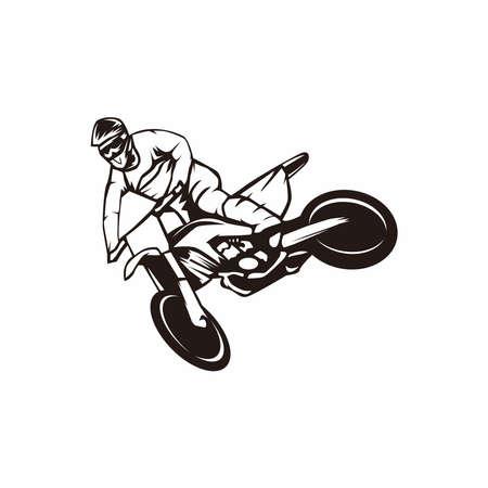 black silhouette motocross dirtbike illustration design vector