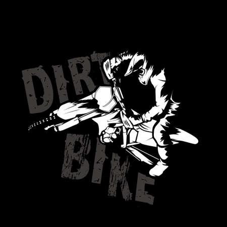 motocross dirt bike illustration poster tshirt vector