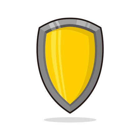 yellow cartoon of shield isolated illustration design vector