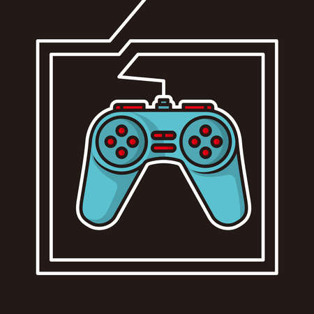 game controller with white cable border and black background illustration design vector poster