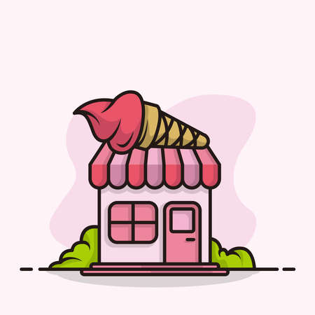 ice cream fast store pink color cartoon style illustration design vector