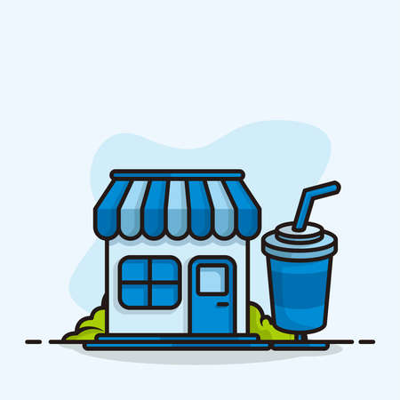 drink fast store blue color cartoon style illustration design vector
