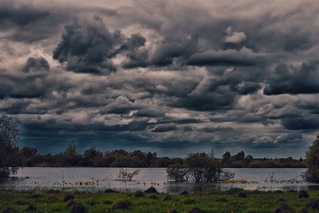 storm coming: landscape coming storm Stock Photo