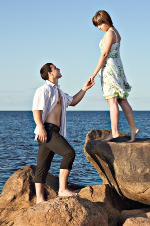 proposes: recognized the guy in love and proposes to the girl by the lake