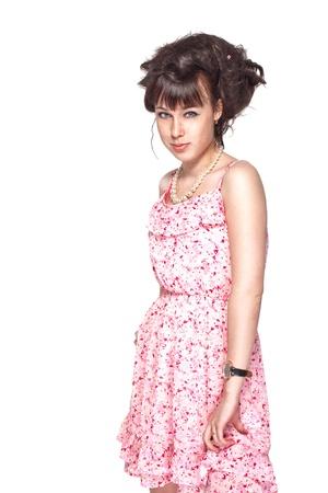 pink posing: Beautiful girl posing in a pink dress Stock Photo