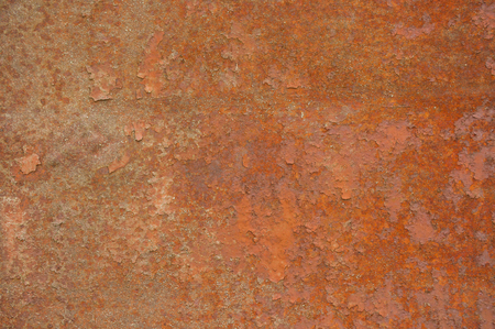 metal corrosion: old rusty metal plate with corrosion closeup Stock Photo