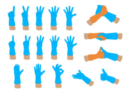 Illustration of hands in rubber gloves isolated on a white background. Vector graphics of gestures and signs.