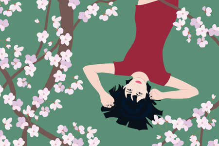 Chinese girl admires the branches of cherry blossoms lying on the grass. Vector graphics of Sakura on a green background.