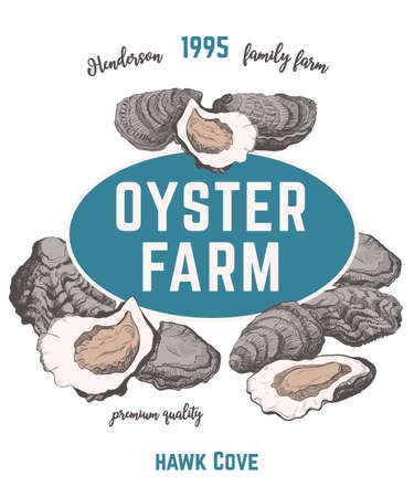 vector oysters emblem concept whith retro typography. Ink graphic, engraved style. For  restaurant, oyster farm or market. Isolated. Ilustração