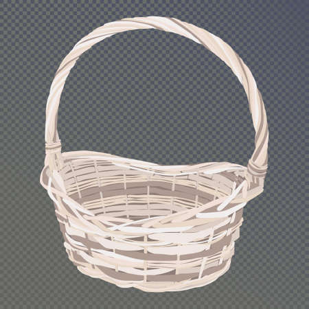 Empty wicker basket for flowers or fruit made by hand. Home production of twigs, rattan. Nest on a transparent background. Isolated vector illustrations