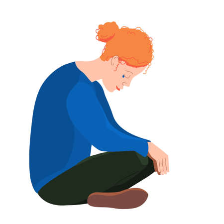 Crying young woman sitting. A depressed, unhappy girl in depression, sadness, despondency. A mental disorder or illness. Colorful vector illustration in flat cartoon style. The concept of loneliness. Çizim