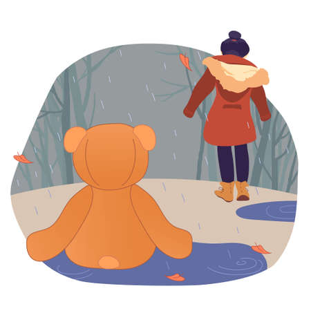 A Teddy bear is thrown in the rain, and the child leaves. An unnecessary toy in the autumn Park. Vector illustration of loneliness and mental depression. The concept of broken hopes and growing up.