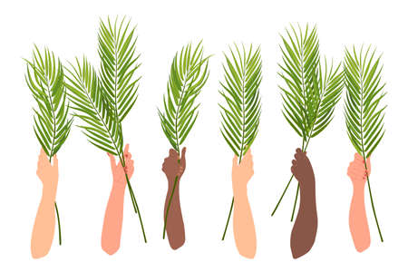 Celebration of palm Sunday in the Christian tradition. Hands are raised with palm branches, the hands of people of different nationalities celebrating a religious holiday. Isolated vector. Vettoriali
