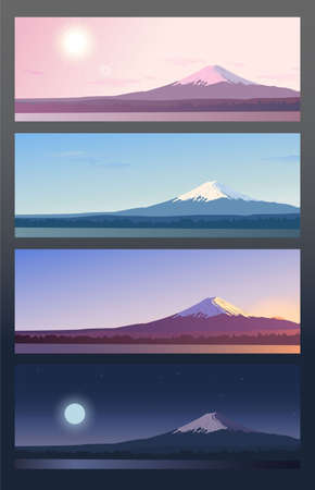 Four banners showing day cycle. Nature scene at different time - morning, noon, evening and night. Panoramic evening view of mount Fuji. Landscape with a mountain peak in Japan. Vector Illustration