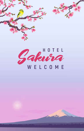Design banner for hotels and restaurant. Realistic graphics of Japanese Nightingale and Sakura on a background of Fuji. Uguisu on a branch of blossoming cherries. Fudjiyama in the sun. 向量圖像