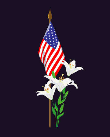 A small American flag, white lilies. Hand-drawn elements in honor of war heroes buried in the National Cemetery. Flowers are laid on the grave on Memorial Day in memory of the heroes.