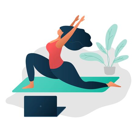 Body positive concept. on-line Yoga and wellness concept. Happy yoga plus size girl. Attractive overweight woman. For Fat acceptance movement no fatphobia. Beautiful plus size girl in yoga pose Illustration
