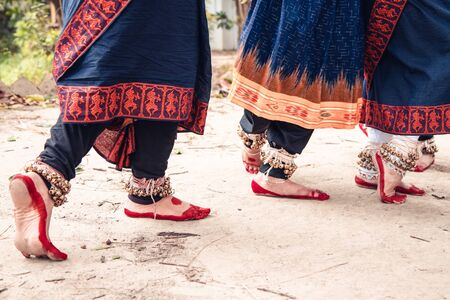 dance form indian classical feet with ghungru. close up, copy space. classical Indian culture and traditions Stock Photo