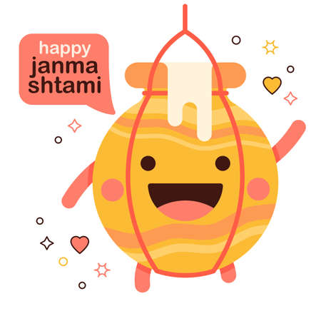 cute smiling cartoon yogurt pot Dahi Sri Krishna janmashtami character with speech bubble text happy janmashtami. icon or emblem for the janmashtami festival.