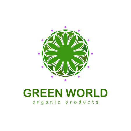 Green world. Abstract Floral logo elegant style. Vector logo design template and emblem with leaves and flowers - luxury beauty spa or organic product concepts - natural badges for cosmetics. Illustration