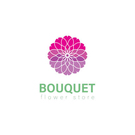 bouquet. Abstract Floral logo elegant style. Vector logo design template and emblem with leaves and flowers - luxury beauty spa or florist shop concepts - natural badges for cosmetics.