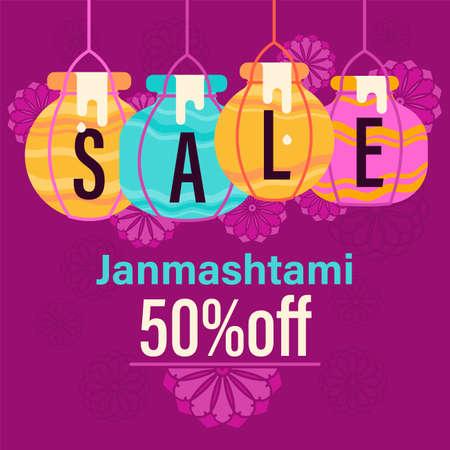 illustration of Happy Krishna janmashtami sale background. for shopping sale, promo poster, banner. Sale Poster Of janmashtami. Creative Sale Banner with Colorful pots. web banner Illustration