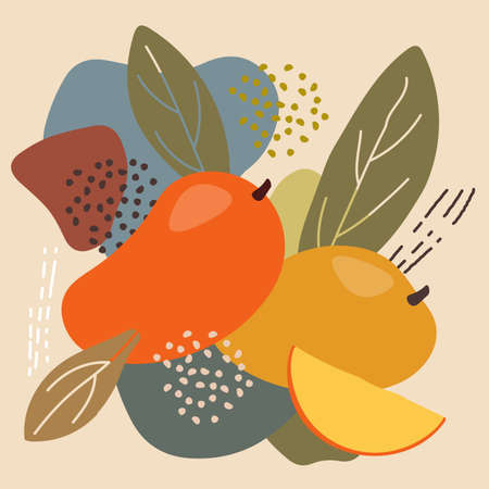Abstract trendy fruit element memphis style. vector illustration of mango fruit on abstract background for organic healthy food packaging, natural cosmetics, vegetarian, vegan products. mango label.