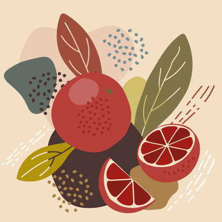 Abstract pastel colors fruit element memphis style. vector illustration of red blood orange on retro abstract background for organic food packaging, natural cosmetics, vegetarian, vegan products Illustration