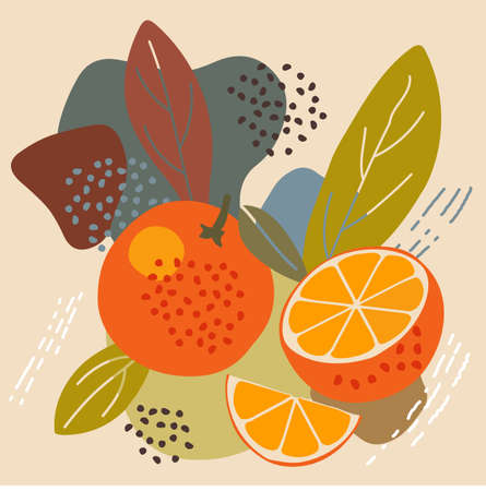 Abstract pastel colors fruit element memphis style. vector illustration of orange on retro abstract background for organic food packaging, natural cosmetics, vegetarian, vegan products. orange label Illustration