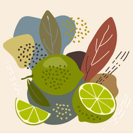 Abstract pastel colors fruit element memphis style. vector illustration of lime on retro abstract background for organic food packaging, natural cosmetics, vegetarian, vegan products. lime label.