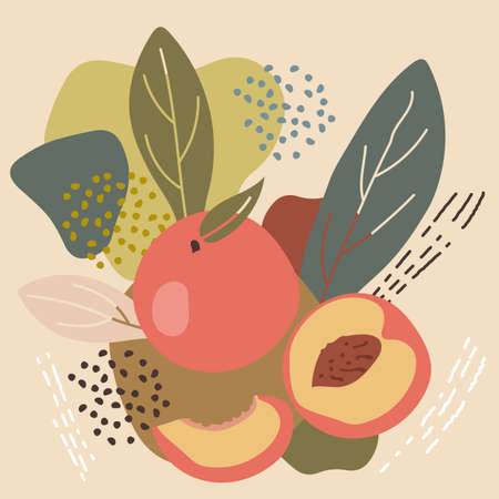 Abstract pastel colors fruit element memphis style. vector illustration of peach on retro abstract background for organic food packaging, natural cosmetics, vegetarian, vegan products. peach label.