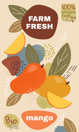 Food label template. vector illustration for organic mango fruit. natural bio fruits package design. ripe mango fruits with abstract memphis style background. eco concept farm fresh label