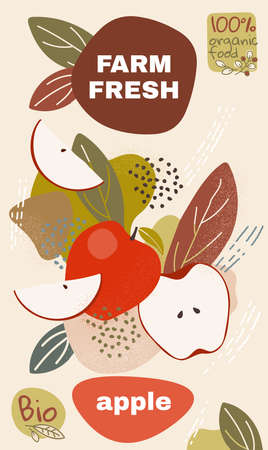 Food label template. vector illustration for organic apple fruit. natural bio fruits package design. ripe apple fruits with abstract memphis style background. eco concept farm fresh label.